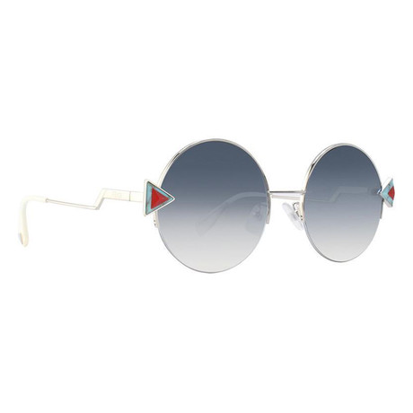 Men's Round Sunglasses // Silver + Blue