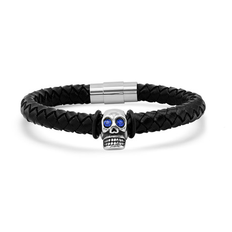 Leather Skull Bracelet // Silver + Blue