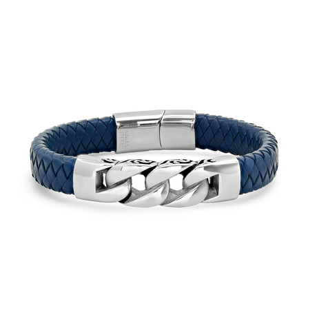 Woven Leather Link Bracelet // Blue + Silver