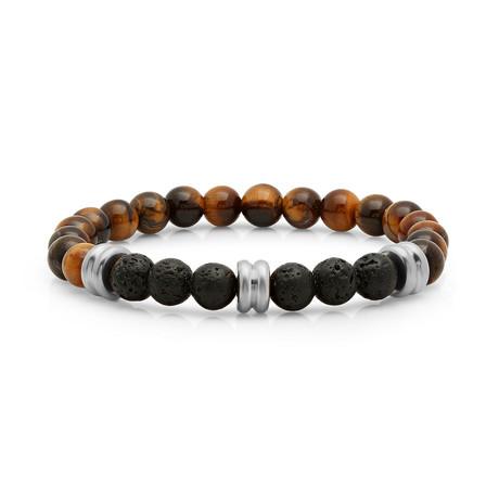Tiger Eye + Lava Beaded Bracelet (Silver)