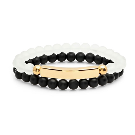 Lava + Jade Beaded Bracelets // Set of 2 // Black + White + Gold