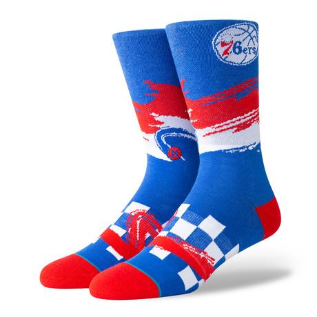 76ers Wave Racer Socks // Blue (S)