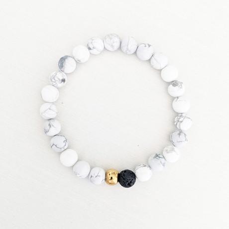 Howlite + Lava Bead Bracelet // White + Black + Gold