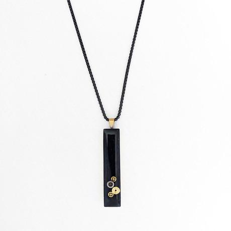 Rectangle Gear Pendant Necklace // Black + Gold