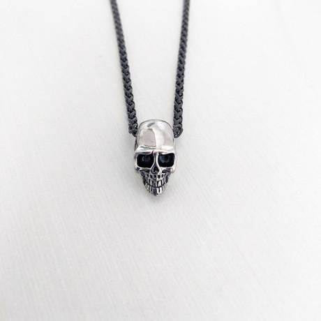 Skull Necklace // Black + Silver