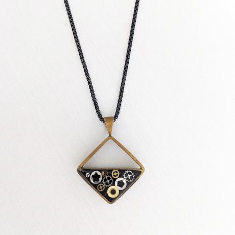 Half Filled Square Pendant Necklace // Black + Gold