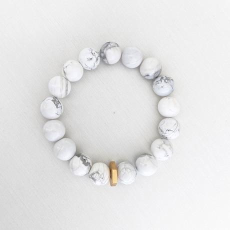 Howlite Bead + Brass Nut Bracelet // White + Gold