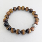 Tiger's Eye Bead Bracelet // Brown + Copper + Silver