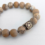 Picture Jasper Bead Bracelet // Brown + Gold