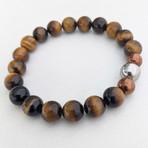 Tiger's Eye Bead Bracelet // Brown + Copper + Silver