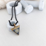 "Triangle Gear Pendant Necklace // Black + Gold (20"" Chain)"
