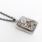 Watch Mechanism Pendant Necklace // Silver + Black