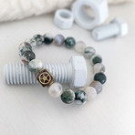 Tree Agate Bead Bracelet // Green + White + Gold