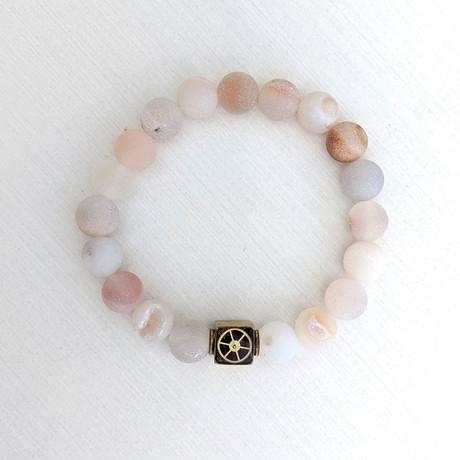 Druzy Geode Agate Bead Bracelet // Gray + Peach + Gold