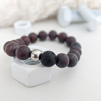 Brecciated Jasper + Lava Bead Bracelet // Dark Red + Black + Silver