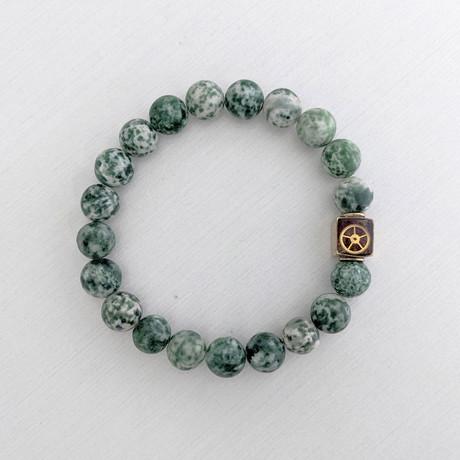 Green Spot Stone Bead Bracelet // Green + White + Gold