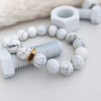 Howlite Bead + Brass Nut Bracelet // White + Gold
