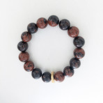 Mahogany Obsidian Bead Bracelet // Maroon + Gold