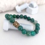 Striped Agate Bead Bracelet // Green + White + Gold