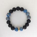 Lava + Regalite Mix Bead Bracelet // Black + Blue + Gold