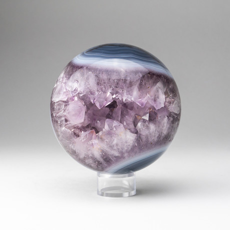 Genuine Polished // Amethyst Geode Sphere + Round Acrylic Stand