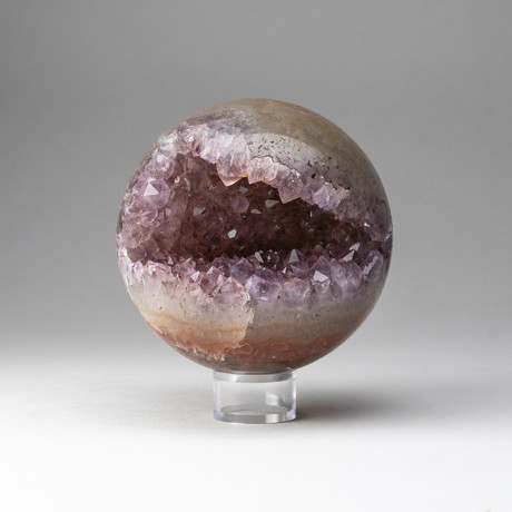 Genuine Polished // Amethyst Geode Sphere + Round Acrylic Stand // v.2