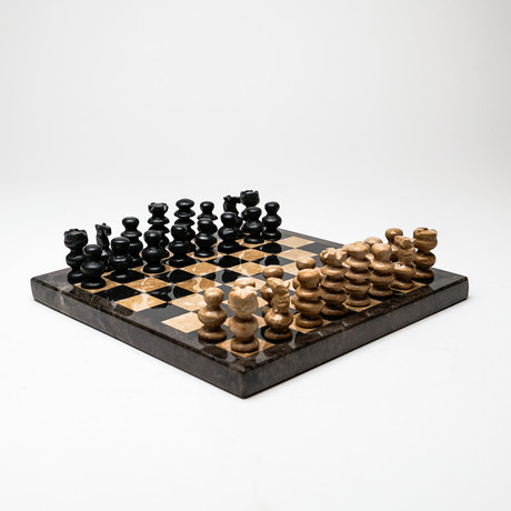 Small // Black + Brown // Onyx Polished Chess Set