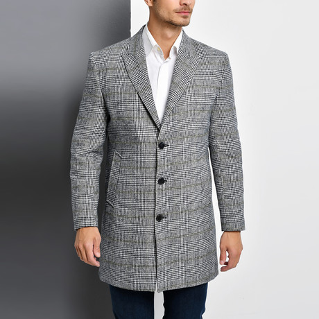 Bruges Overcoat // Checkered Gray (Small)