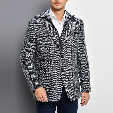 Naples Overcoat // Patterned Dark Blue (Small)