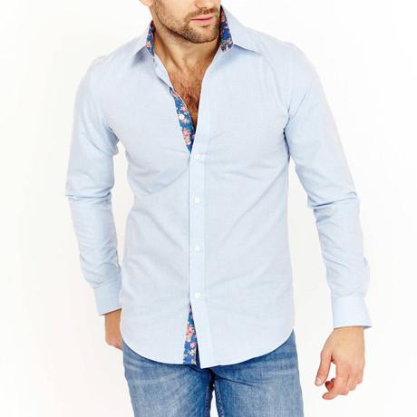 Alexander Long Sleeve Button-Up Shirt // Cerulean Blue (Small)