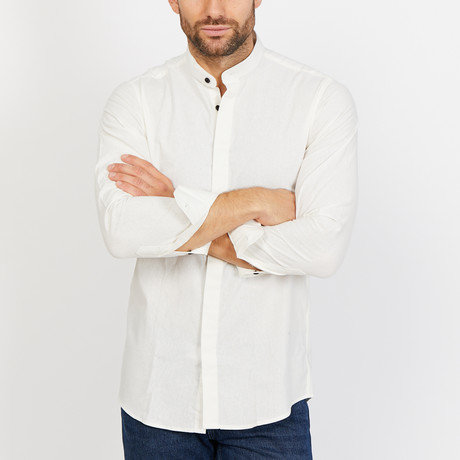 Wyatt Long Sleeve Button-Up Shirt // Pearl White (Small)