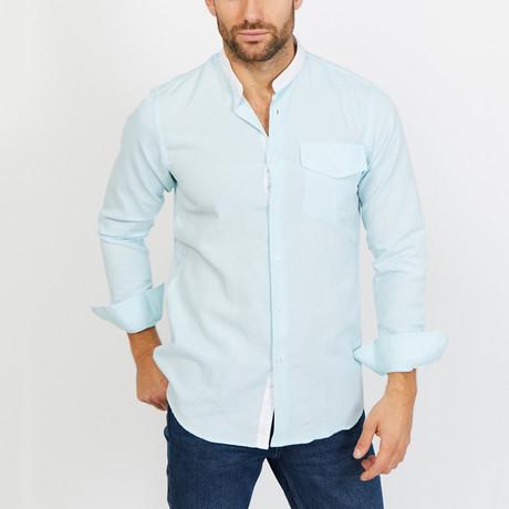 Hugo Long Sleeve Button-Up Shirt // Light Blue + White (Small)