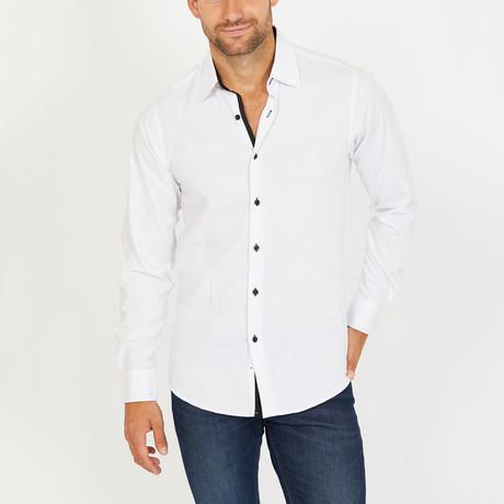 John Long Sleeve Button-Up Shirt // White + Black (Small)