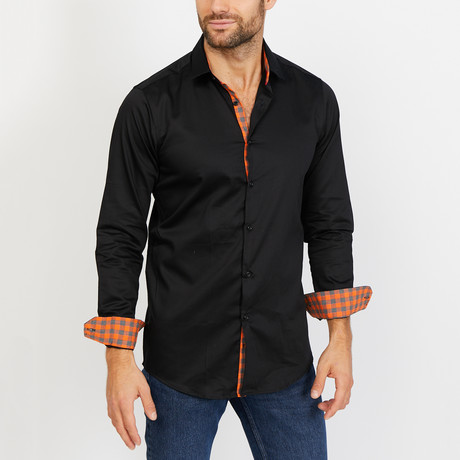 Dylan Long Sleeve Button-Up Shirt // Black + Orange (Small)