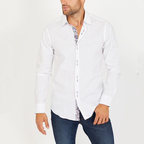 Tom Long Sleeve Button-Up Shirt // White (Small)