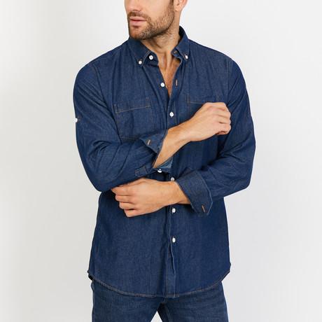 David Long Sleeve Button-Up Shirt // Denim Blue (Small)