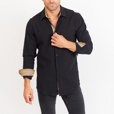 Adam Long Sleeve Button-Up Shirt // Coal Black + Gold (Small)