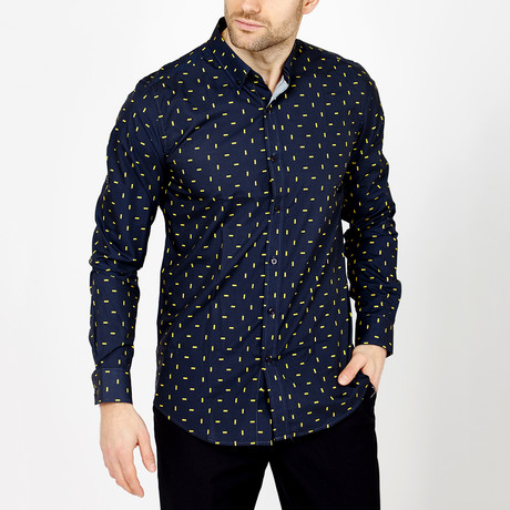 Ethan Long Sleeve Button-Up Shirt // Navy + Yellow (Small)