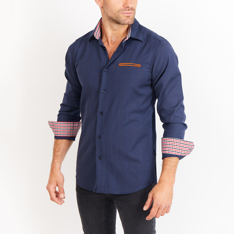 Lucas Long Sleeve Button-Up Shirt // Navy Blue + Red (Small)