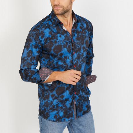 Joseph Long Sleeve Button-Up Shirt // Deep Blue + Black (Small)
