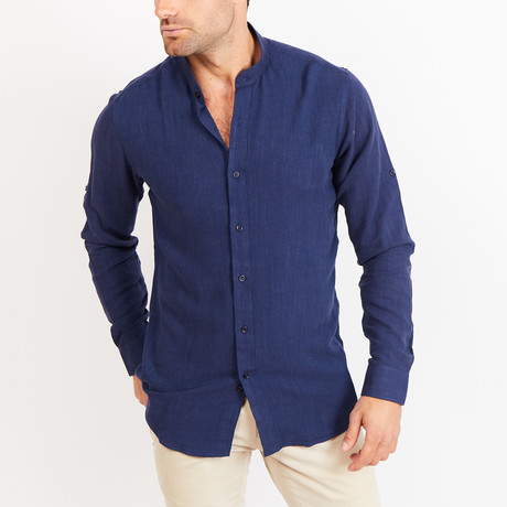 Liam Long Sleeve Button-Up Shirt // Teal Blue (Small)