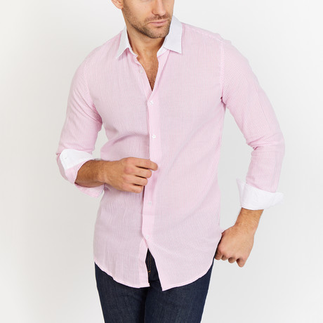 Carter Long Sleeve Button-Up Shirt // Shell Pink + White (X-Large)