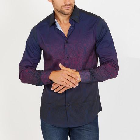 Larry Long Sleeve Button-Up Shirt // Cobalt Blue + Red (Small)