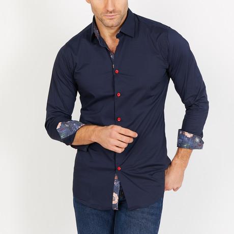 Liam Long Sleeve Button-Up Shirt // Deep Blue (Small)