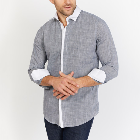 Michael Long Sleeve Button-Up Shirt // Gray + White (Small)