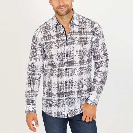 Roy Long Sleeve Button-Up Shirt // White + Black (Small)