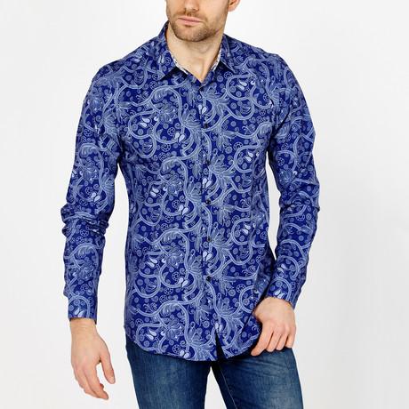 Martin Paisley Long Sleeve Button-Up Shirt // Blue (Small)
