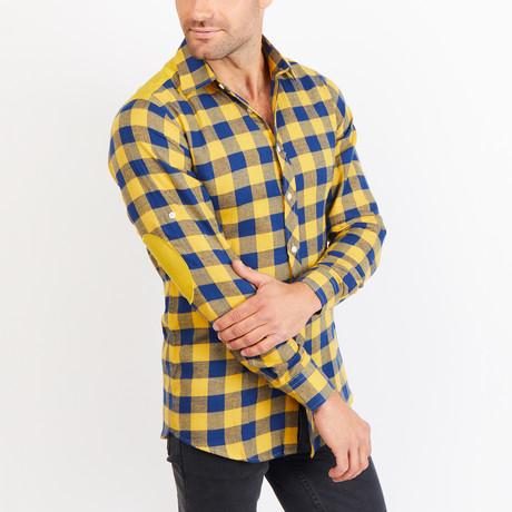 Alden Checkered Long Sleeve Button-Up Shirt // Yellow + Blue (Small)