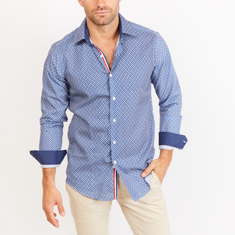 Elijah Long Sleeve Button-Up Shirt // Cyan Blue + White (Small)