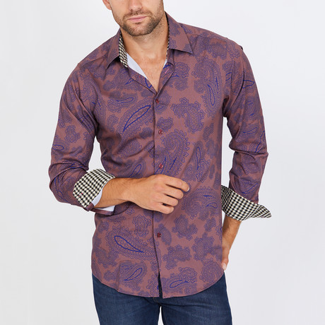 Lee Paisley Long Sleeve Button-Up Shirt // Blue + Burgundy (Small)